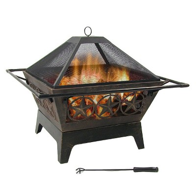 """Sunnydaze Outdoor Camping or Backyard Steel Northern Galaxy Fire Pit with Cooking Grill Grate, Spark Screen, and Log Poker - 32"""""""