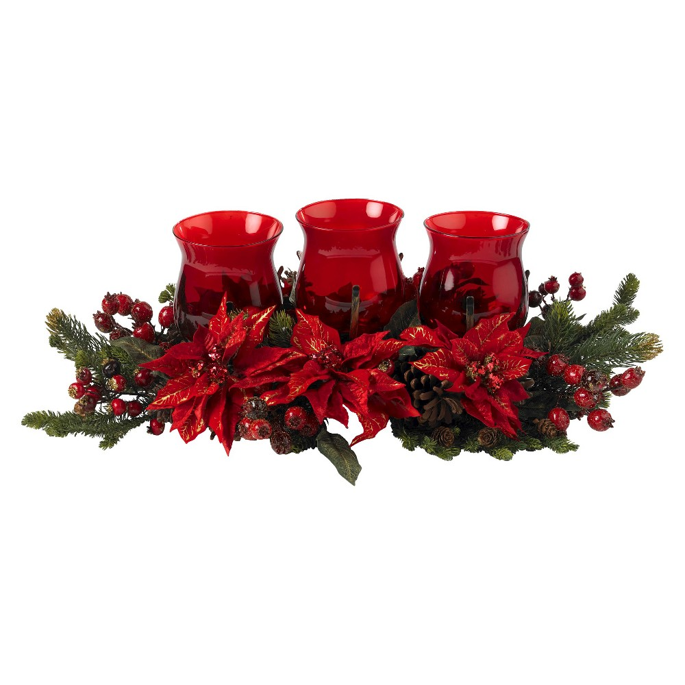 Poinsettia & Berry Triple Candelabrum - Nearly Natural, Red