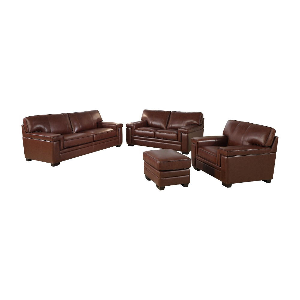Image of 4pc Evan Top Grain Leather Seating Set Brown - Abbyson Living