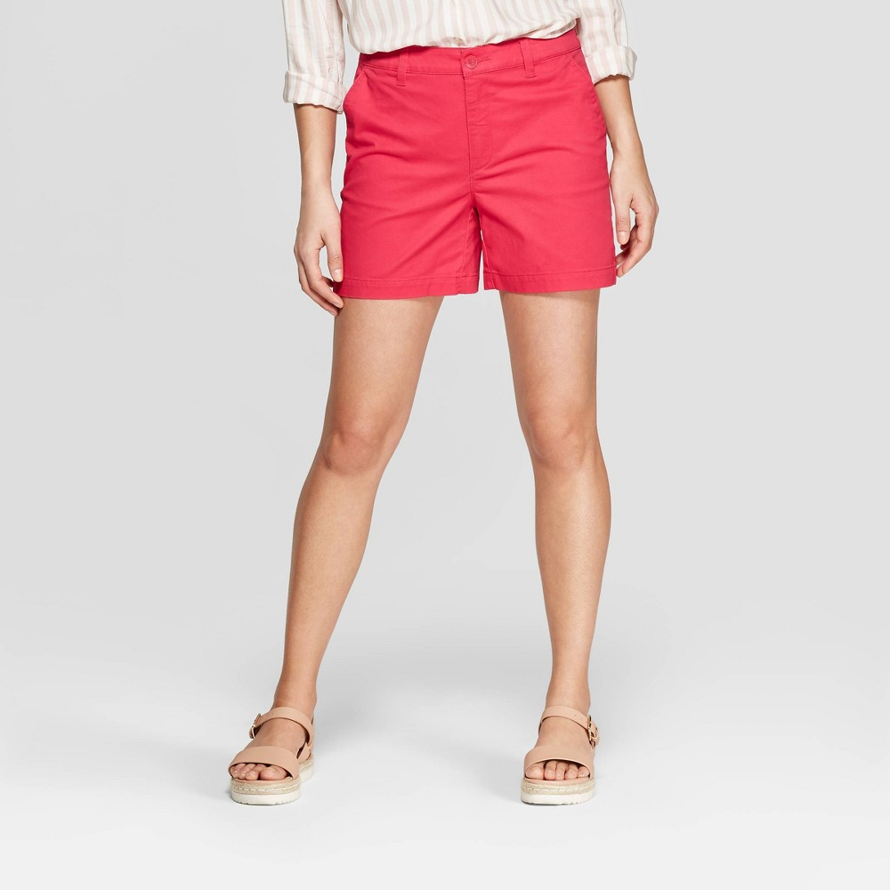 Women's High-Rise Chino Shorts - A New Day Dark Pink 0