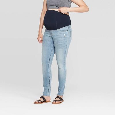 Maternity Raw Hem Skinny Jeans - Isabel Maternity by Ingrid & Isabel™ Light Wash
