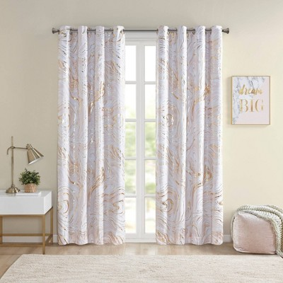 Vanessa Marble Metallic Blackout Curtain Panel