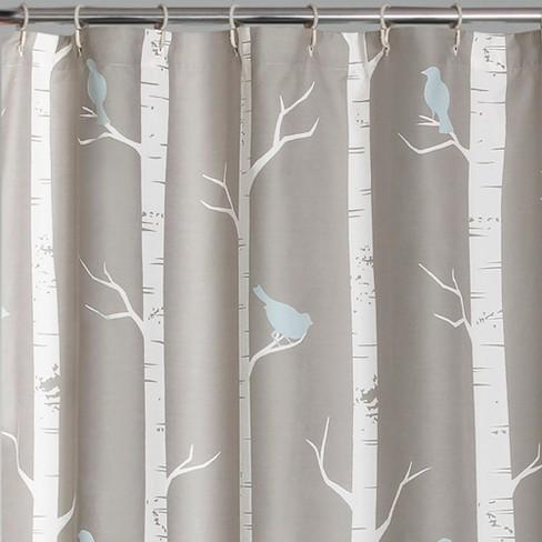 Bird On The Tree Shower Curtain Gray Blue