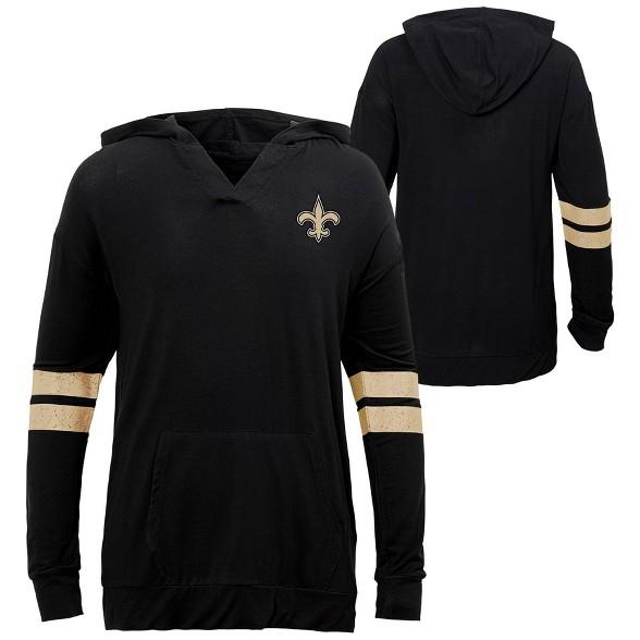 Nfl New Orleans Saints Girls Long Sleeve Dark Lightweight Hoodie