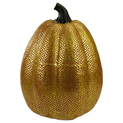 Northlight Orange and Gold Diamond Patterned Halloween Pumpkin Tabletop Decoration