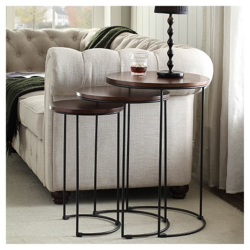 Eloise Nesting Table Set Chestnut Black Carolina Chair And Target