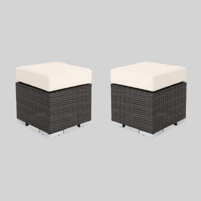 Santa Rosa 2pk Wicker Outdoor Patio Ottoman Seat - Brown/Beige - Christopher Knight Home