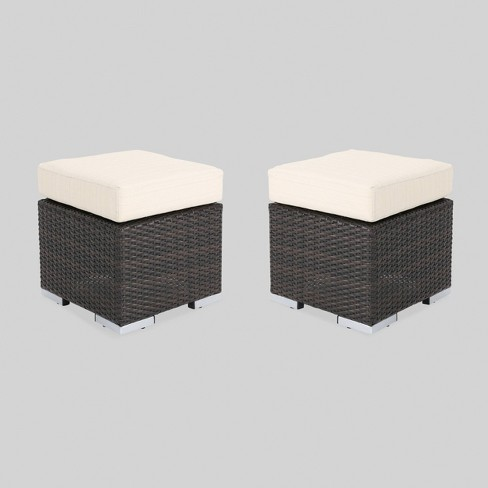 Santa Rosa 2pk Wicker Outdoor Patio Ottoman Seat - Brown/Beige - Christopher Knight Home - image 1 of 4