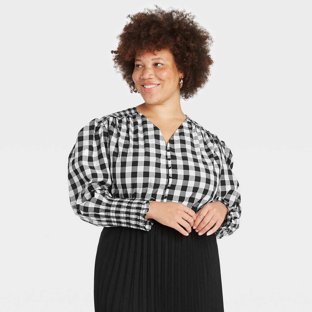 Women 39 S Plus Size Gingham Check Long Sleeve Smocked Poplin Top A New Day 8482 Black White 4x