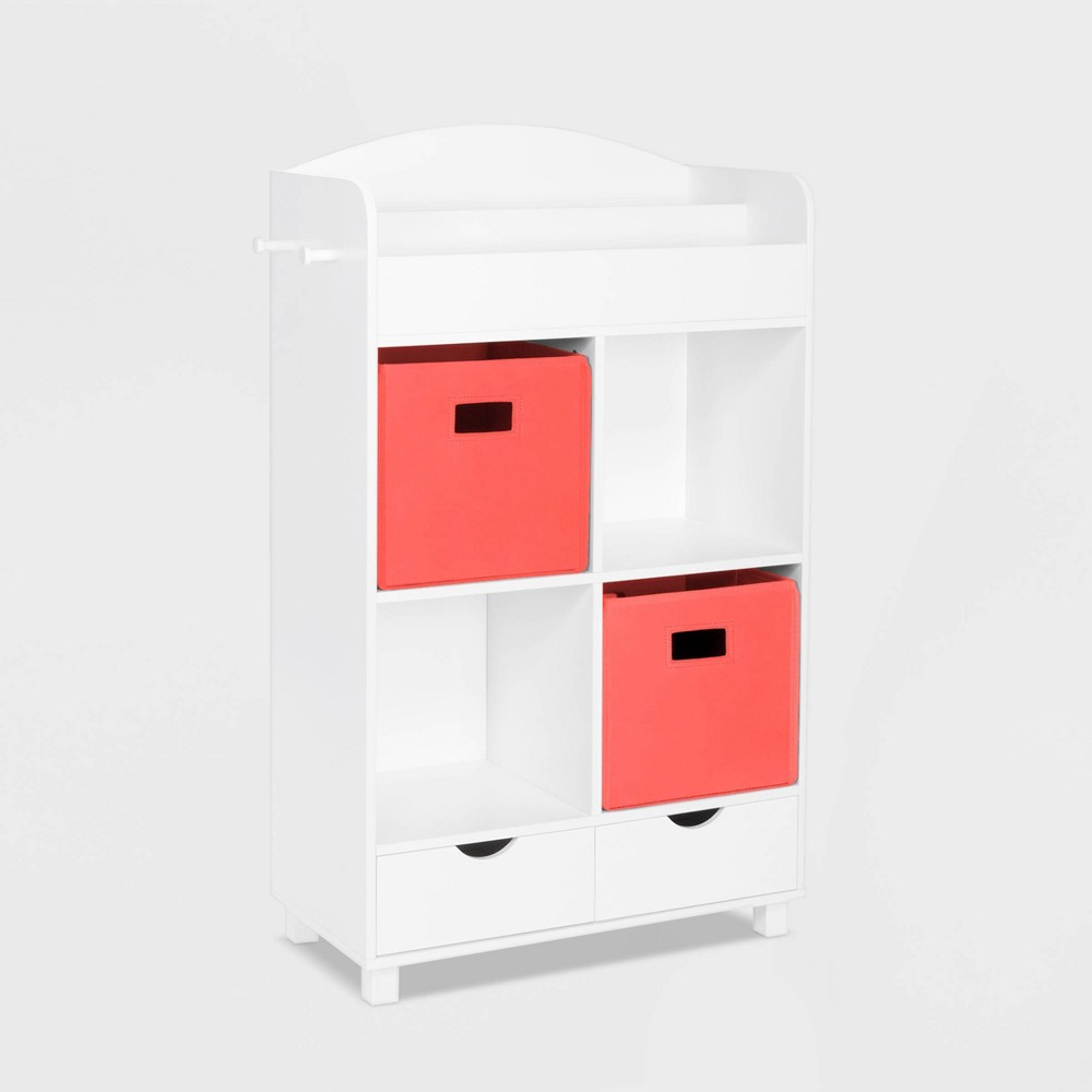 Image of 2pc Bin Book Nook Kids Cubby Storage Cabinet with Book Rack Coral - RiverRidge