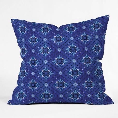"16""x16"" Schatzi Brown Boho Tile Throw Pillow Blue - Deny Designs - image 1 of 3"