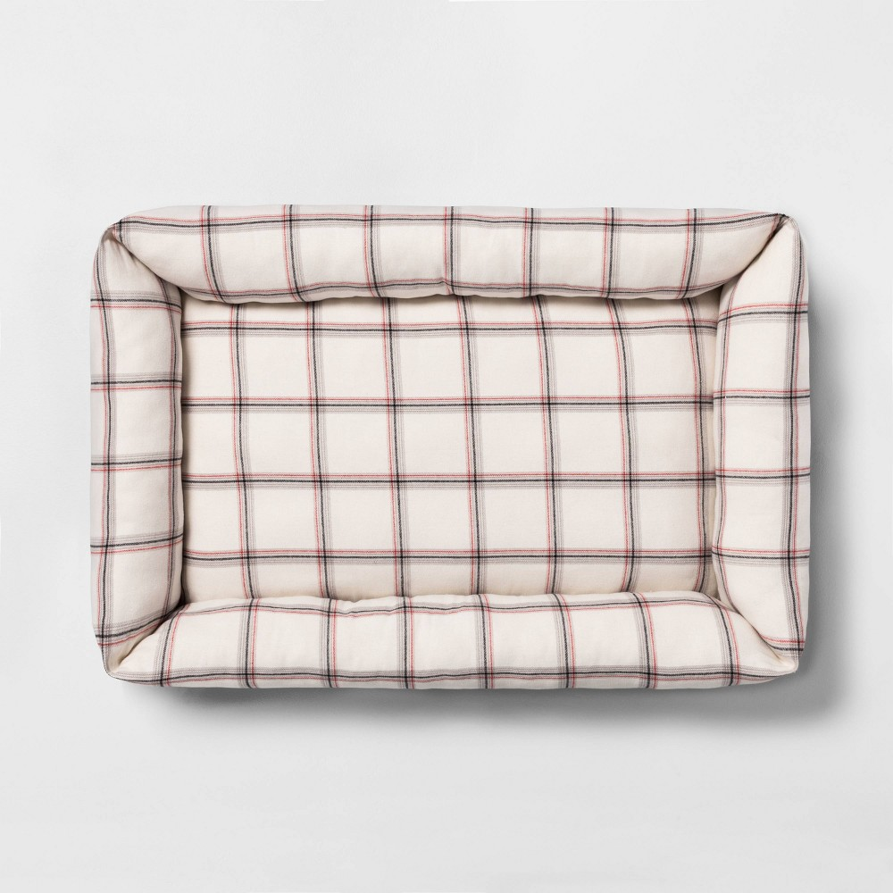 Image of Large Pet Bed Plaid - Hearth & Hand with Magnolia, Beige