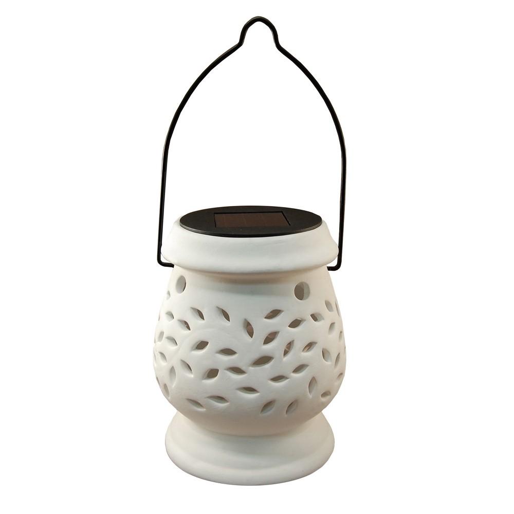 Solar Powered Ceramic Led Lantern White - Lumabase