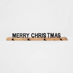 "26"" x 3"" Merry Christmas Stocking Holder Black/Brown - Threshold™"