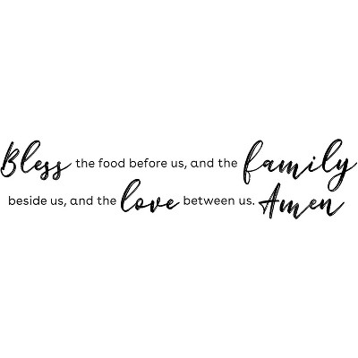 Kitchen Wall Stickers Wall Decals Decor, Bless Food, Family, Love Between Us (24.5 x 9 In)