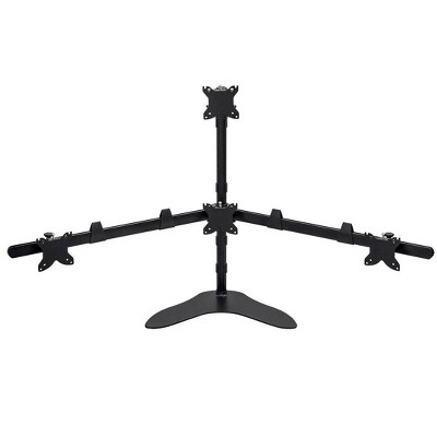 Monoprice Quad Monitor Pyramid Free Standing Desk Mount For 15-30in Monitors | Rotate 360°, Swivel ±60°, Tilt ±12°