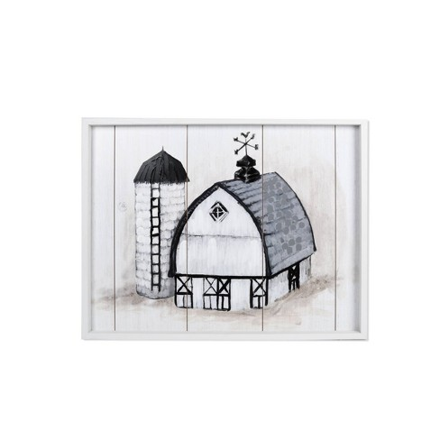 """21"""" x 27"""" Farm with Silo Reverse Bo x with Routes Wall Art White/Black - New View - image 1 of 3"""