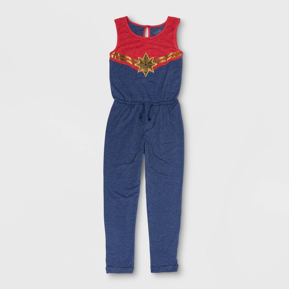 Girls' Captain Marvel Cosplay Jumpsuit - Red/Blue L
