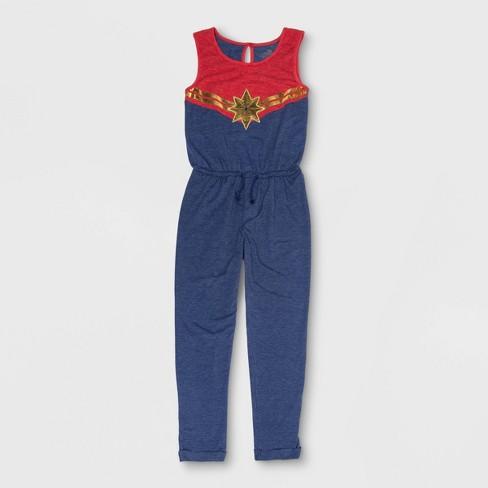 7ef877698e0a Girls  Captain Marvel Cosplay Jumpsuit - Red Blue   Target