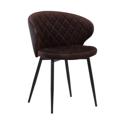 Ava Contemporary Dining Chair Black/Brown - Armen Living