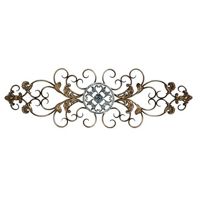 """36"""" x 11.5"""" Traditional Scroll Wall Décor Champagne/Distressed Blue - Stratton Home Décor"""