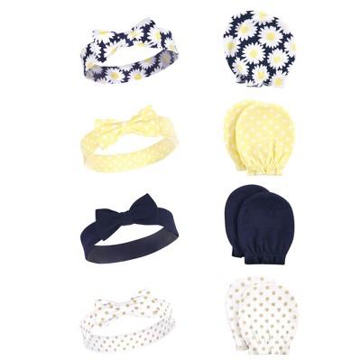 Hudson Baby Infant Girl Cotton Headband and Scratch Mitten Set, Daisy, 0-6 Months