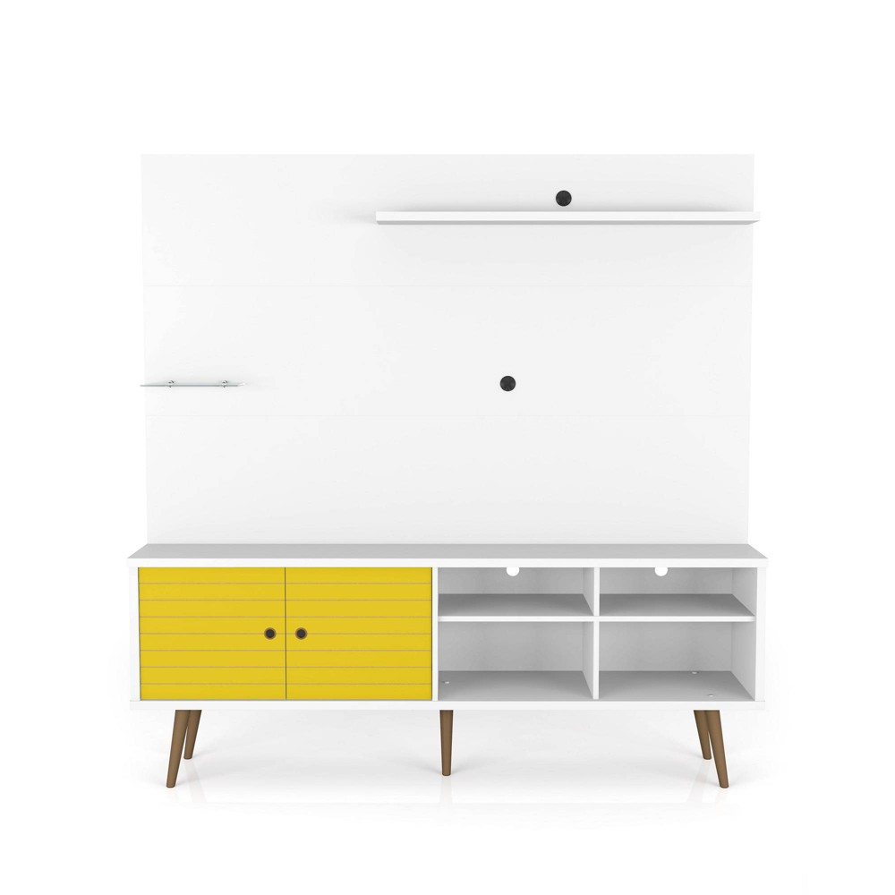 70.87 Liberty Freestanding Entertainment Center with Overhead Shelf White/Yellow - Manhattan Comfort