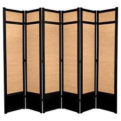7 ft. Tall Jute Shoji Screen - Black (6 Panels)