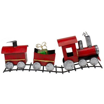 """Northlight 15"""" Three Car Red and Silver Metal Train Christmas Decoration"""