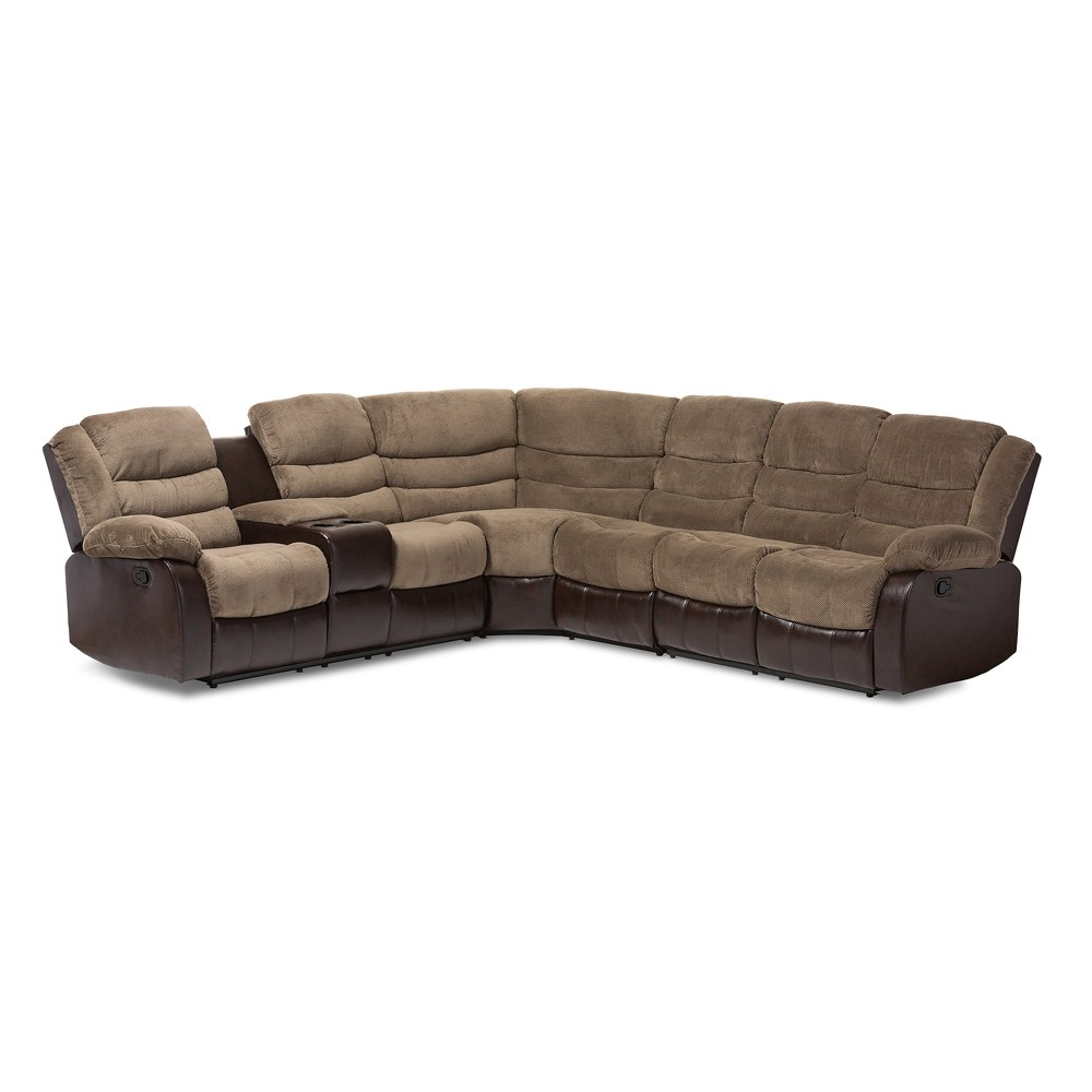 Robinson Modern and Contemporary Fabric and Faux Leather Two - Tone Sectional Sofa - Taupe, Brown - Baxton Studio