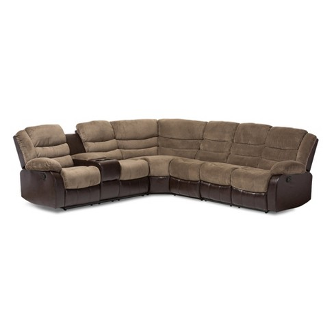 Robinson Modern And Contemporary Fabric Faux Leather Two Tone Sectional Sofa Taupe Brown Baxton Studio Target
