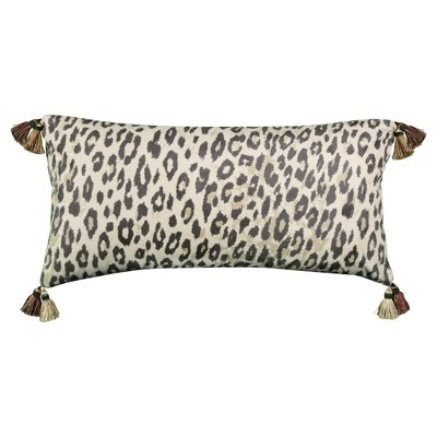 """14""""x26"""" Oversized Faux Suede Animal Print Reversible Lumbar Throw Pillow Brown - Edie@Home"""