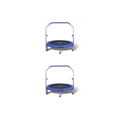 SereneLife 2 x SLSPT409 40 Inch Portable Fitness Jumping Mini Trampoline with Adjustable Handrail, Padded Cushion, and Travel Bag, Adult Size (2 Pack)