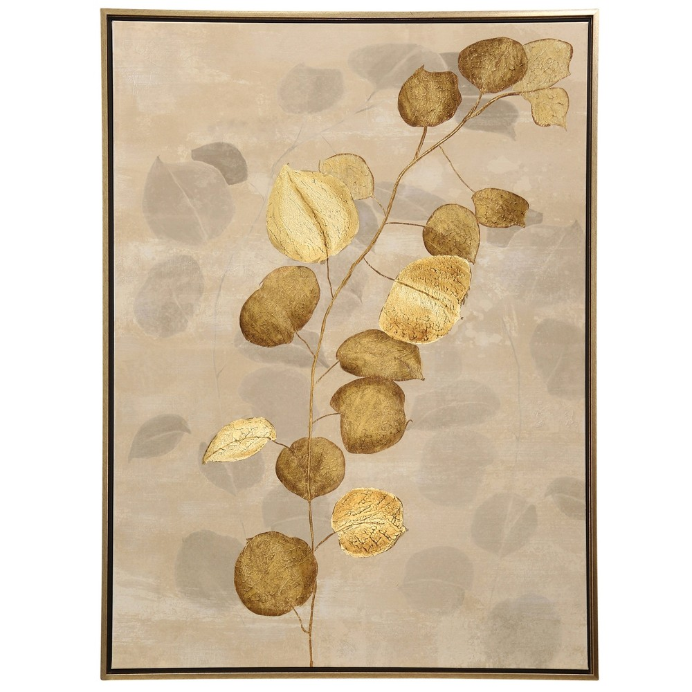 48 Floral Hand Embellished Painting Textured Metallics Stretched Canvas Leaf Print Decorative Wall Art - StyleCraft, Multi-Colored