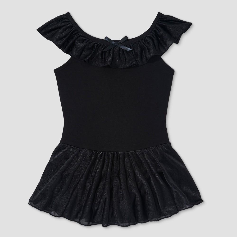 Image of Freestyle by Danskin Girls' Ruffle Shoulder Skirtall - Black L, Girl's, Size: Large