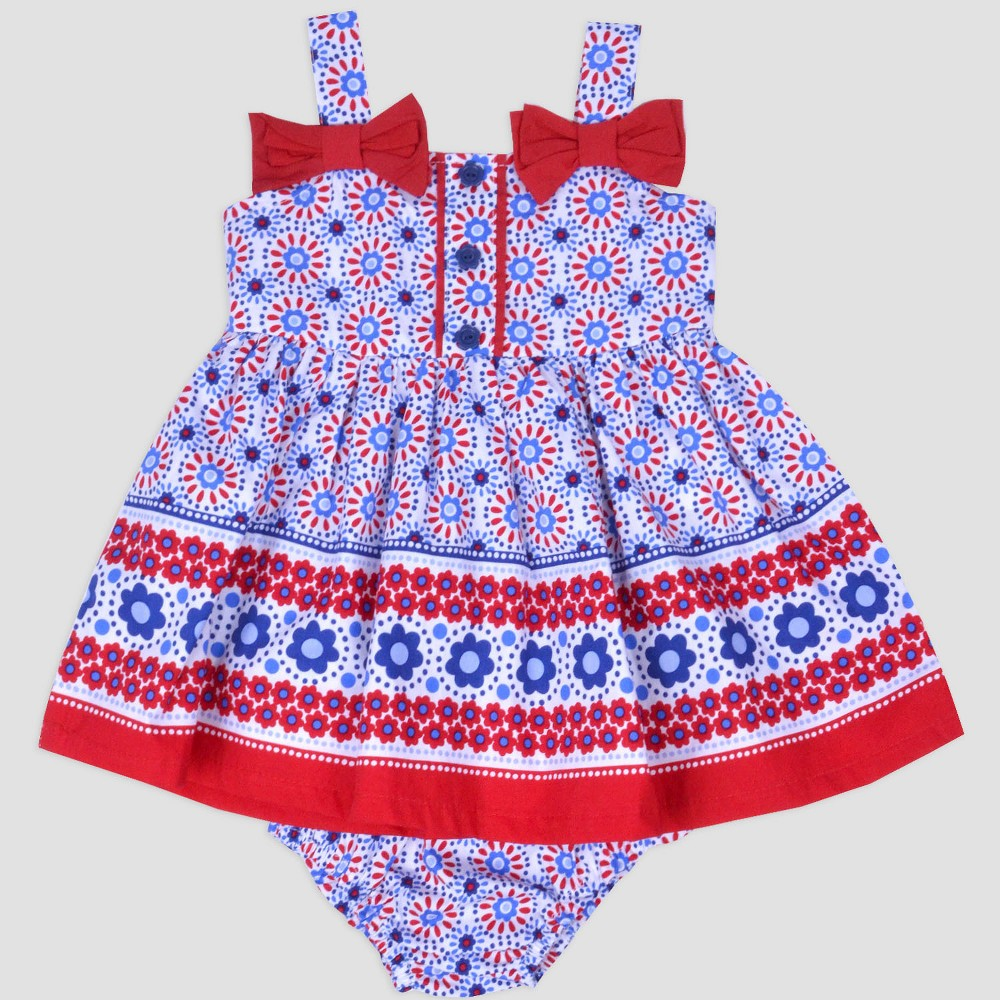 Baby Girls' Border Print Sundress Nate & Annee Navy/Red 0-3M, Blue