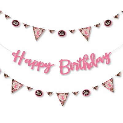 Big Dot of Happiness Pink Gone Hunting - Deer Hunting Girl Camo Birthday Party Letter Banner Decor - 36 Banner Cutouts & Happy Birthday Banner Letters