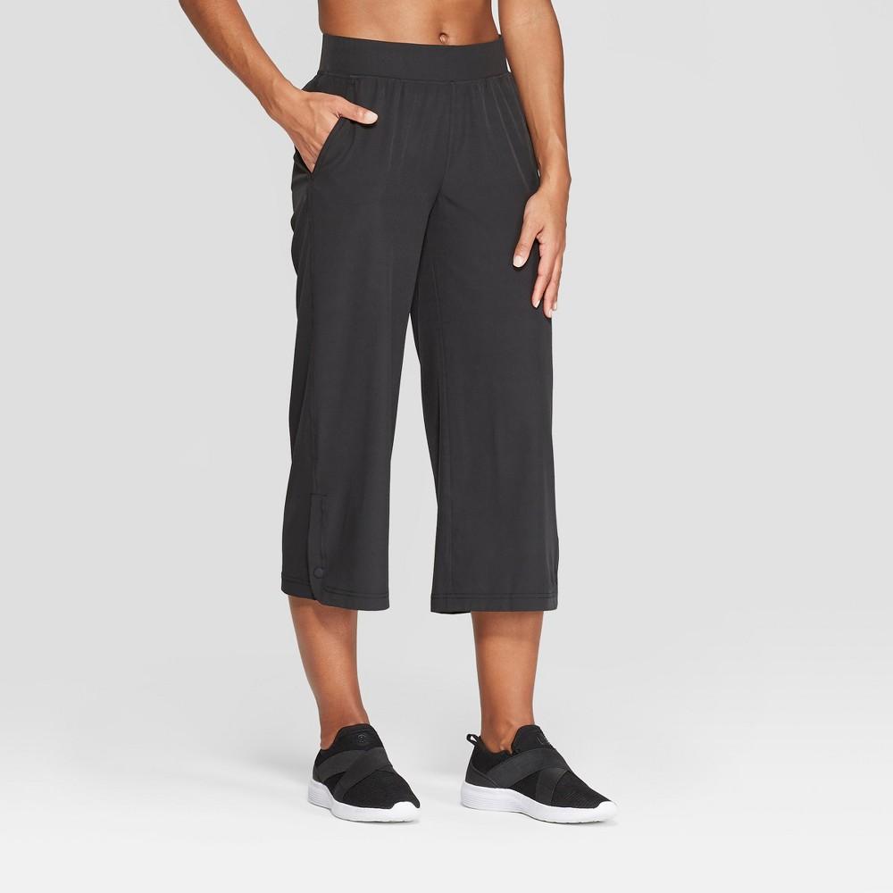 Women's Woven Wide Leg Crop Mid-Rise Pants - C9 Champion Black L