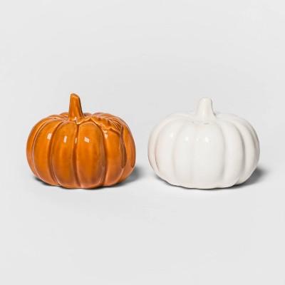 2pc Stoneware Pumpkin Salt and Pepper Shaker Set White/Orange - Threshold™