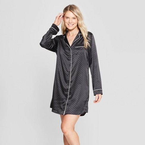 Women's Satin Nightgown - Gilligan & O'Malley™ Black - image 1 of 2