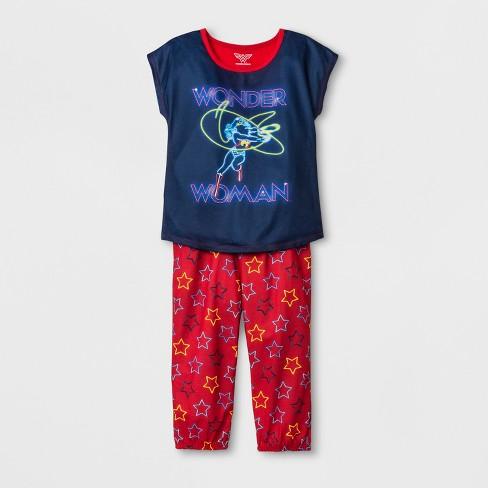 Girls' Wonder Woman 2pc Pajama Set - Blue/Red - image 1 of 1