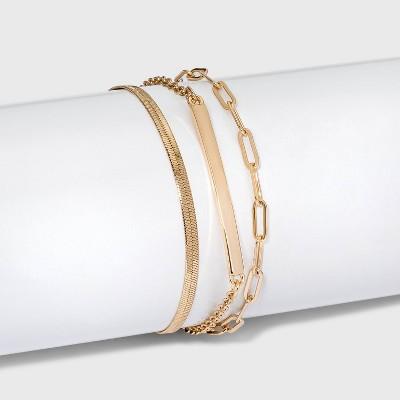 Chain Bar Multi-Strand Bracelet Set 3pc - A New Day™ Gold