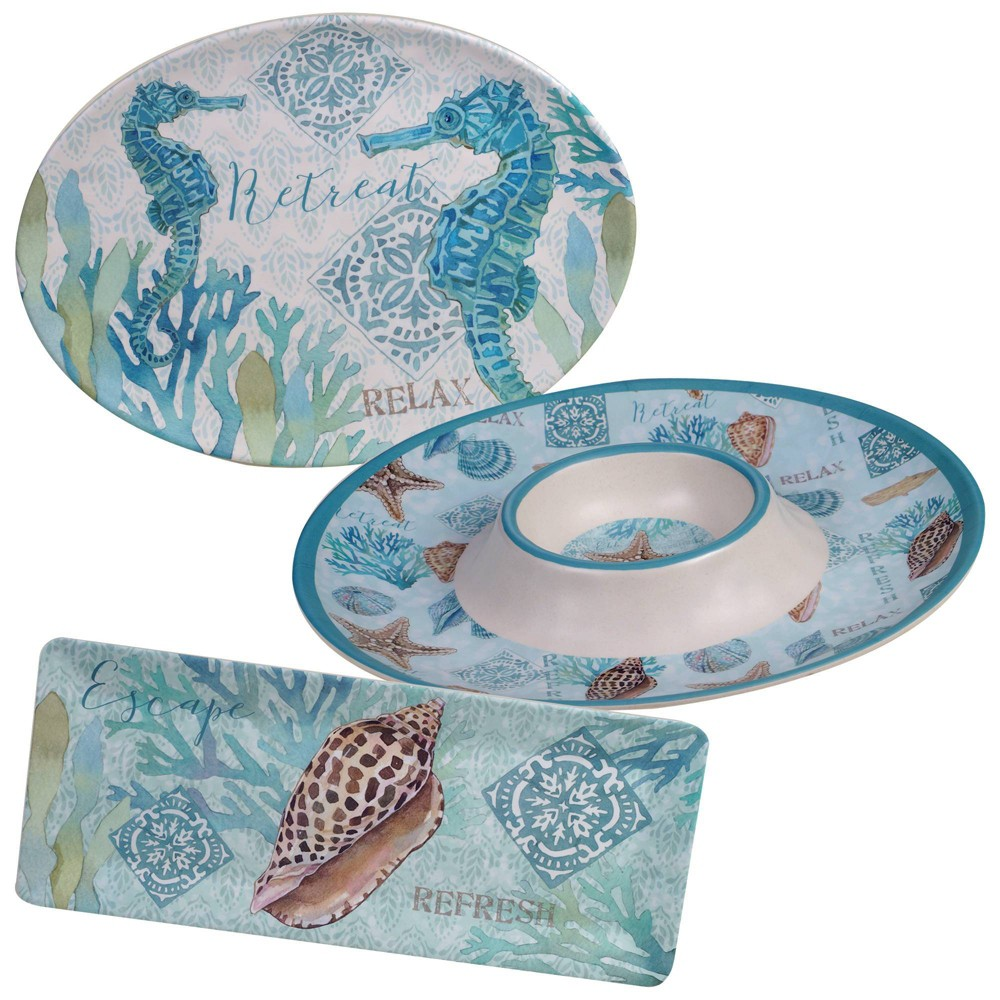 Image of 3pc Melamine Beachcomber Serving Set - Certified International