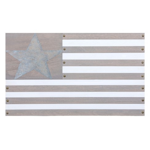 "18""x30"" Americana Wood Flag Wall Art Taupe - Patton Wall Decor - image 1 of 4"