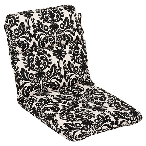 Sensational Outdoor Seat Pad Dining Bistro Cushion Black White Floral Pabps2019 Chair Design Images Pabps2019Com