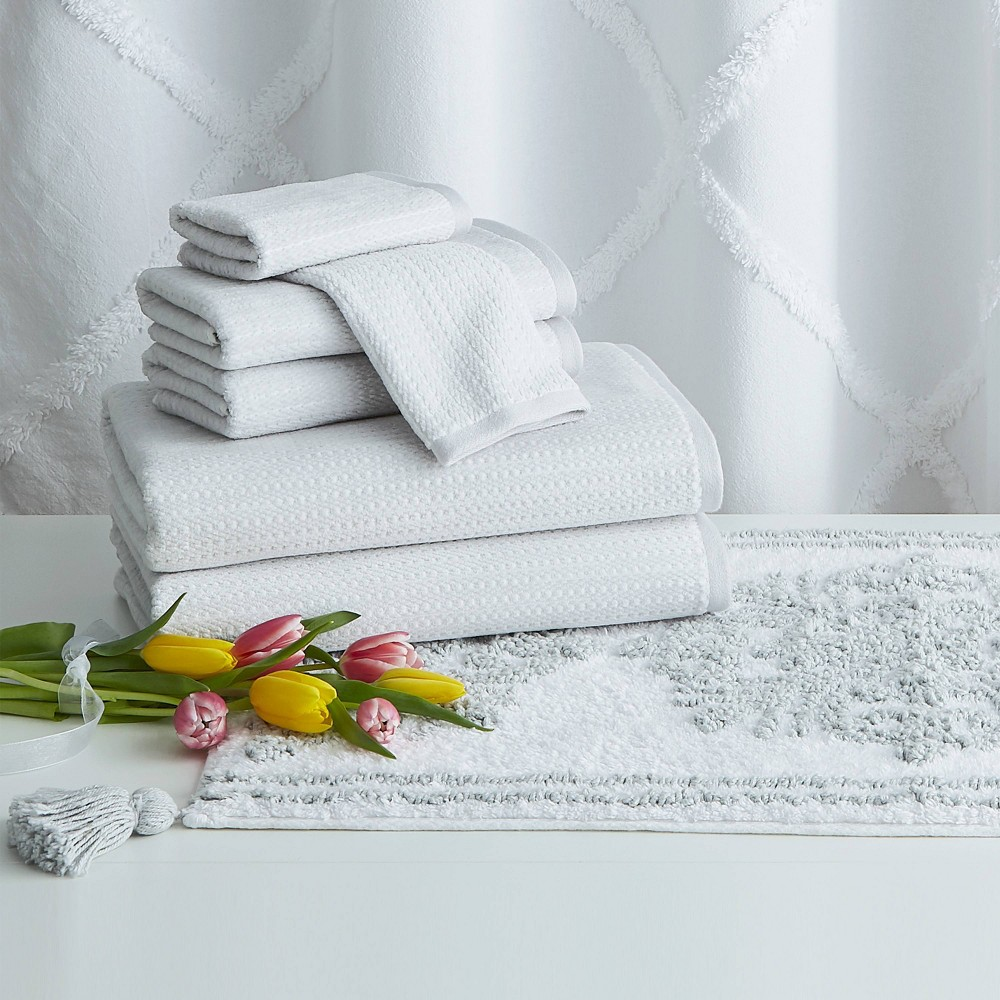 Image of 8pc Chenille Lattice Towel Bundle and Bath Rug with Shower Curtain White - Destinations