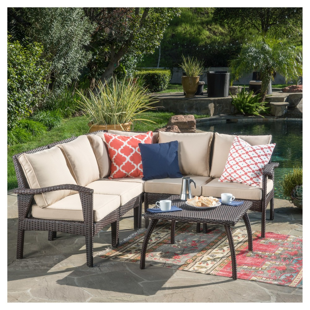 Maui 6pc All-Weather Wicker Patio V-Shaped Sofa Set - Brown - Christopher Knight Home