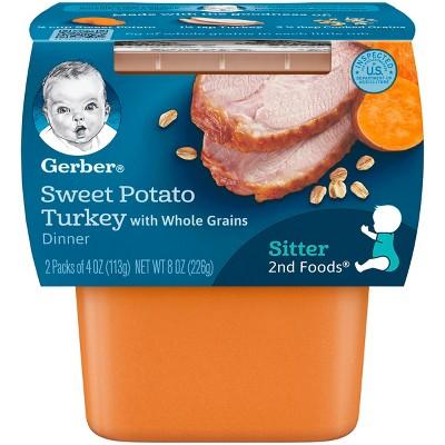 Gerber 2nd Foods, Sweet Potato and Turkey - 4oz 2pk