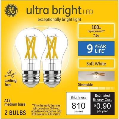 General Electric 2pk 100W A15 Ceiling Fan SW Ultra Bright LED Clear