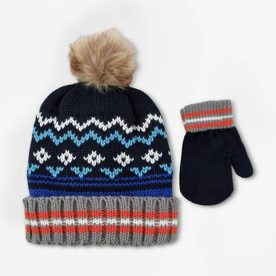 Baby Boys' Hat And Glove Set   Cat & Jack™ Blue Cobalt 12 24 M by Cat & Jack
